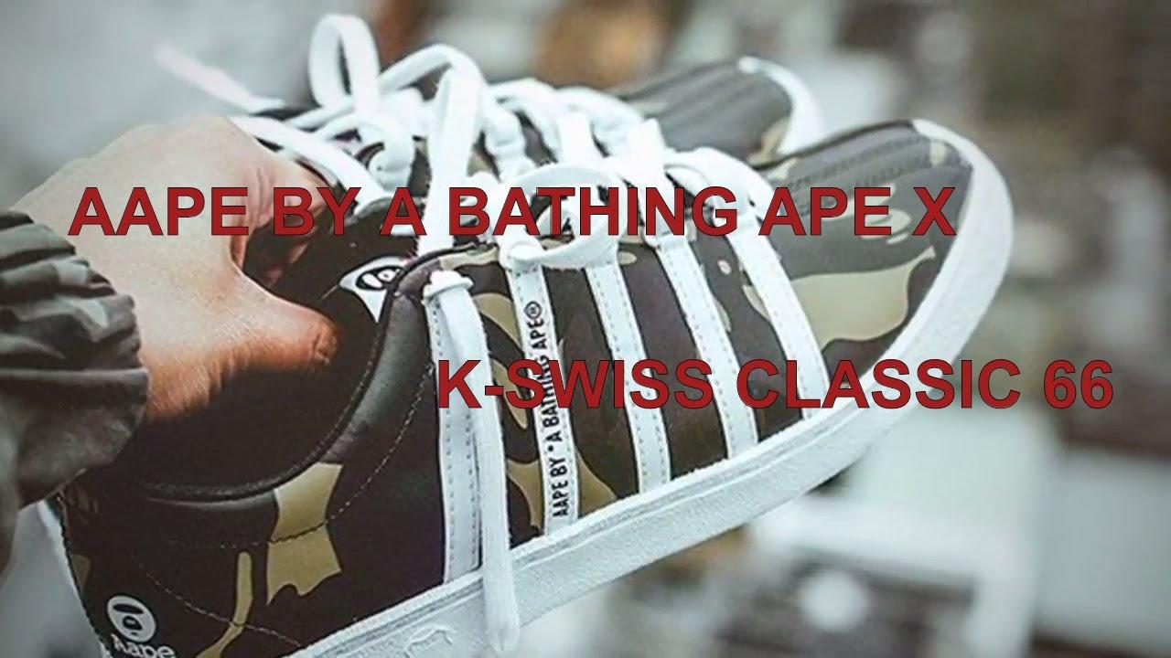 new style 8b677 b5fb5 AAPE BY A BATHING APE X K-SWISS CLASSIC 66