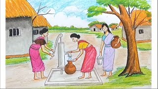 How to draw scenery of Take water from Tube well step by step