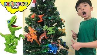 Decorate a DINOSAUR CHRISTMAS TREE! Skyheart's toys Dinosaurs for kids video