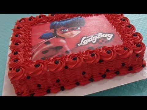 Bolo Da Ladybug 🎂 Com Rosas Vermelhas De Chantilly 🌹