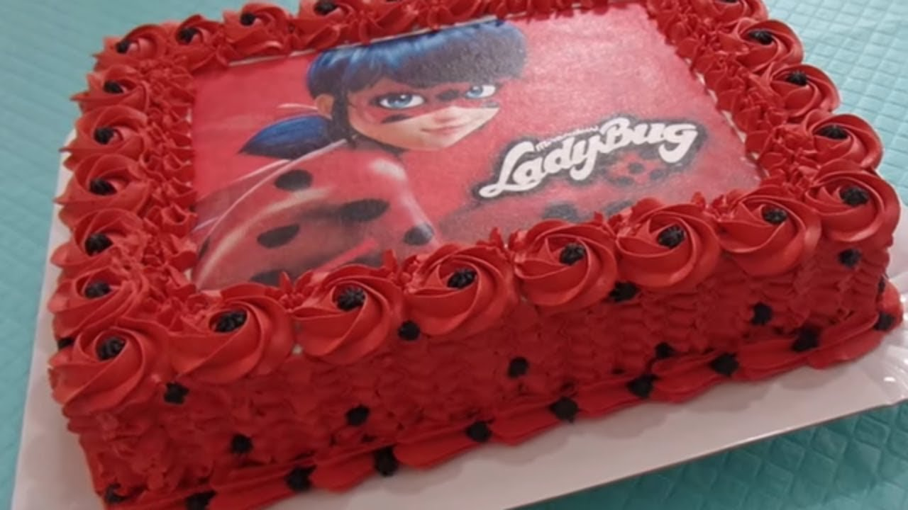 bolo da ladybug com rosas vermelhas de chantilly youtube