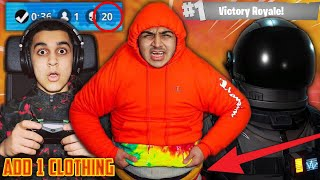 1 KILL = ADD 1 PIECE OF CLOTHING FORTNITE CHALLENGE! | 13 YEAR OLD BROTHER PLAYS SOLO FORTNITE