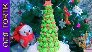 Новогодняя ЁЛКА из безе Как приготовить ЁЛКУ из безе  Meringue Christmas tree  ///  Olya Tortik