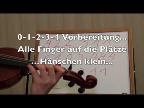 Die erste Griffart auf der Geige / Violine, Noten, Fingersatz, erste Lieder auf der E-Saite