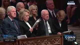 Oldest living ex-president Jimmy Carter attends Bush's funeral