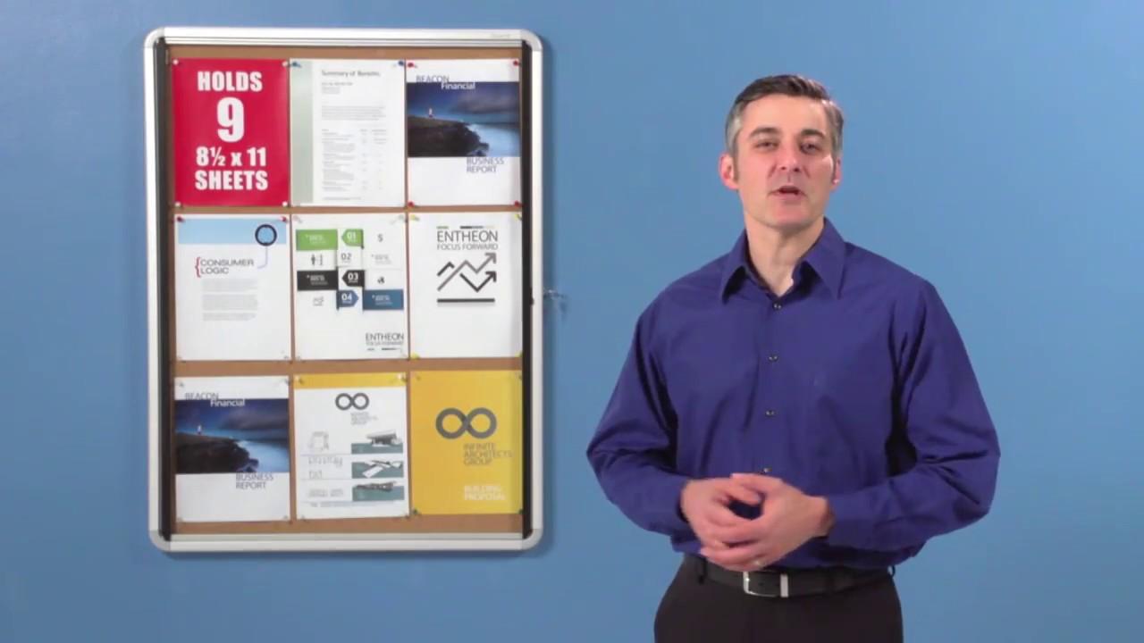 Enclosed Indoor Cork Bulletin Board W Swing Glass Doors