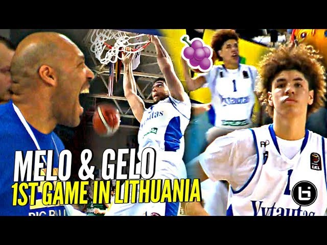 LaMelo Ball Gets JELLY & LiAngelo DUNKING In FIRST PRO GAME IN LITHUANIA!! Full Highlights #1