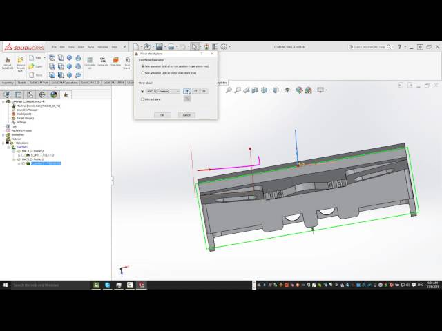 SolidCAM 2016 - Mirror Around a Coordinate System and Plane