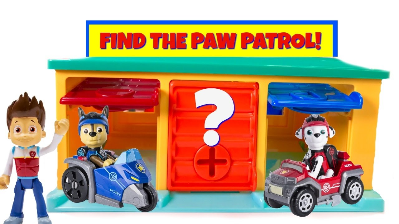 paw-patrol-hidden-in-little-bus-tayo-garage-match-colors-find-mission-pups-learn-colours