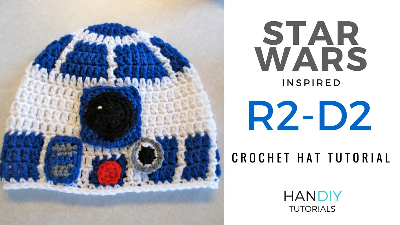 R2-D2 Droid Crochet Hat Tutorial inspired by Star Wars - YouTube