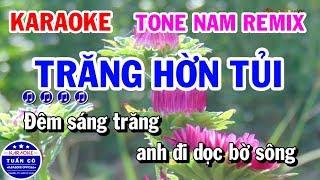 Karaoke Trăng Hờn Tủi   Nhạc Sống Tone Nam Remix   Karaoke Tuấn Cò