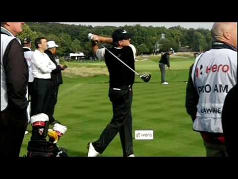 Paul Lawrie golf swing (driver) face-on and dtl views, British Masters October 2016.