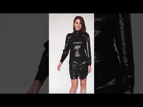 Video: Kobieca sukienka cekinowa ze stójką