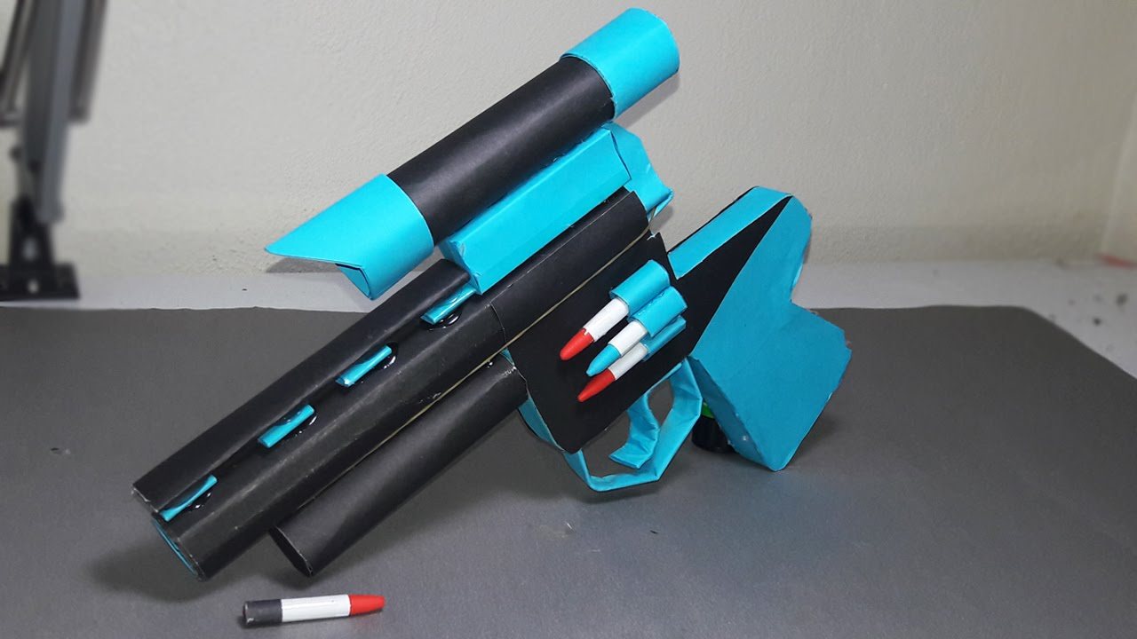 Diy How To Make A Paper Zombie Gun That Shoots Paper Bullets Toy