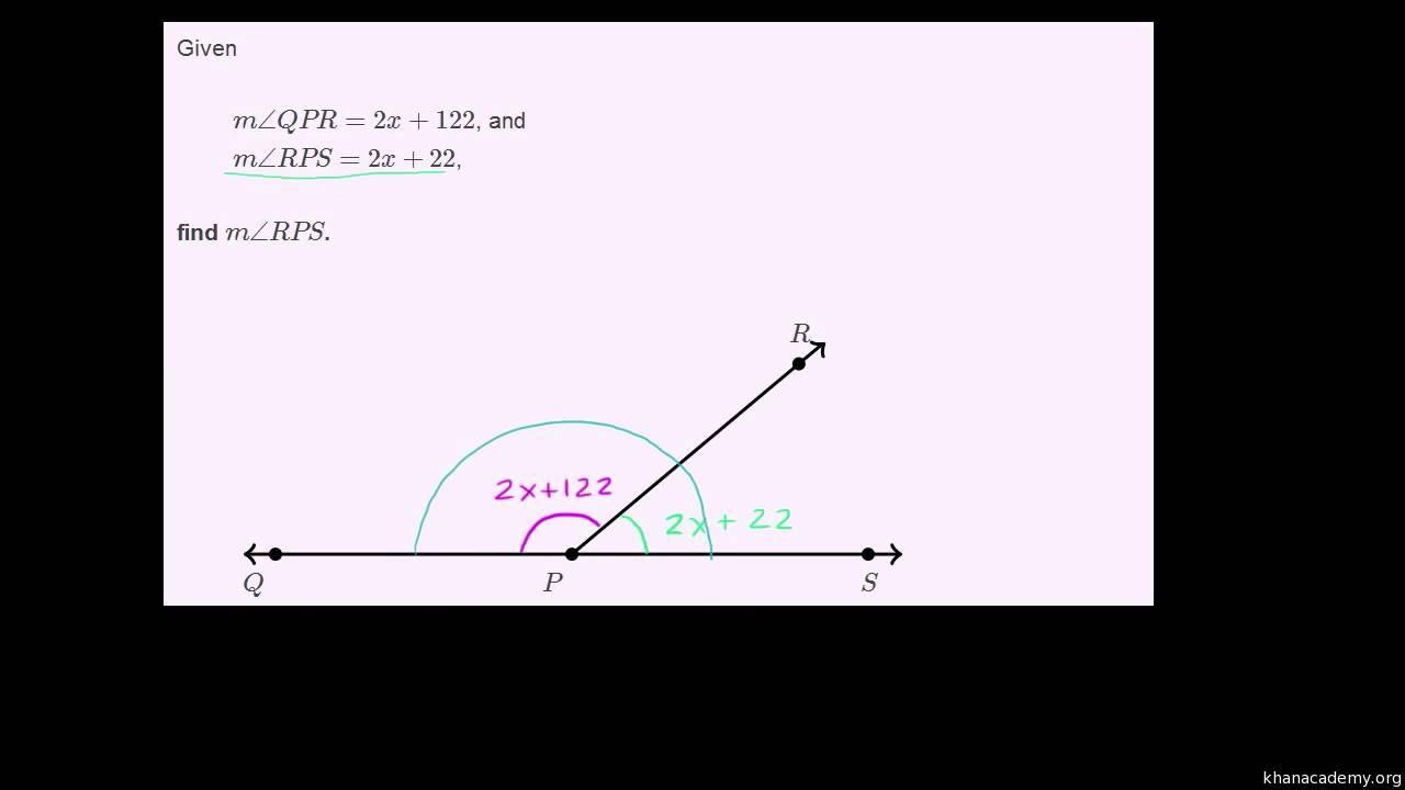 Eksempel på brug af algebra til at finde størrelsen af supplementære vinkler