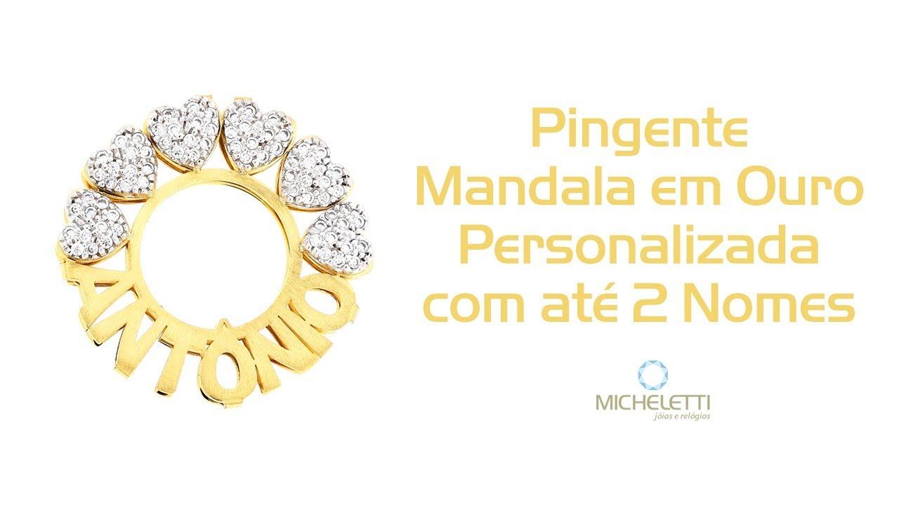 Pingente Mandala Personalizada com Nome Ouro 18k - Micheletti Joias ... cda4177626