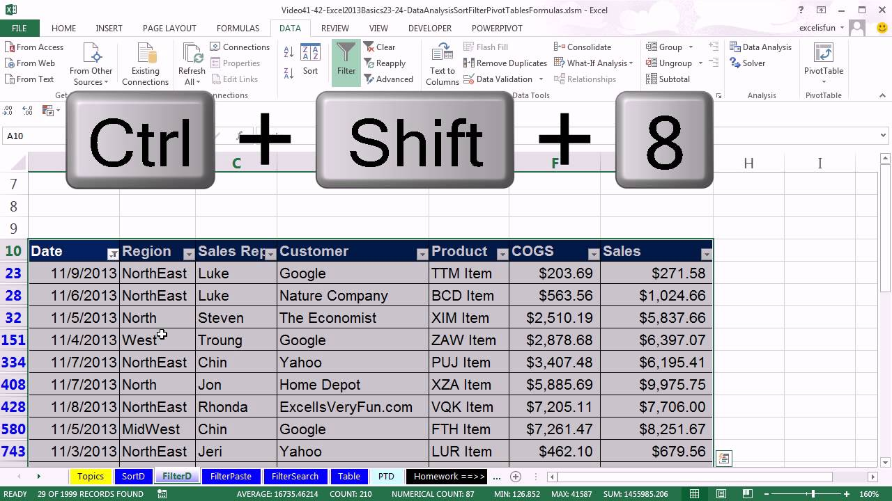 Office 2013 Class #41: Excel Basics 23: Sort and Filter, Basic Data  Analysis (24 Examples) - YouTube