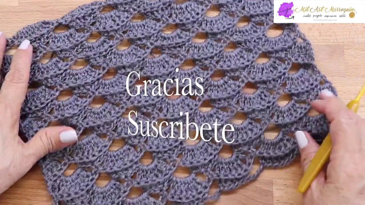 Como Tejer Chal a Crochet Rectangular - YouTube