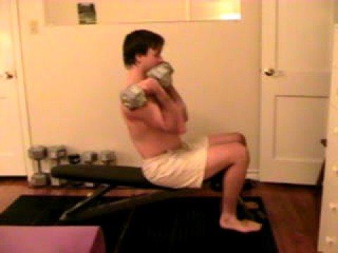 Sitting Straight 2 Arm Dumbbell Curls 25 lbs 1stx 21x