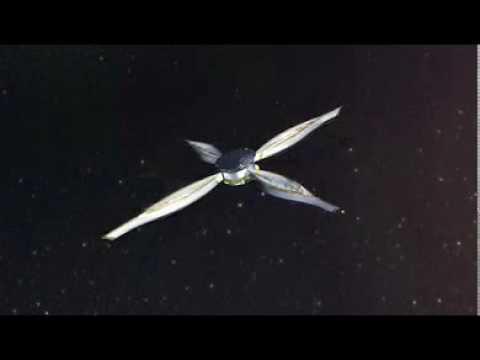 World's first interplanetary solar sail spacecraft IKAROS, sail spreading CG image