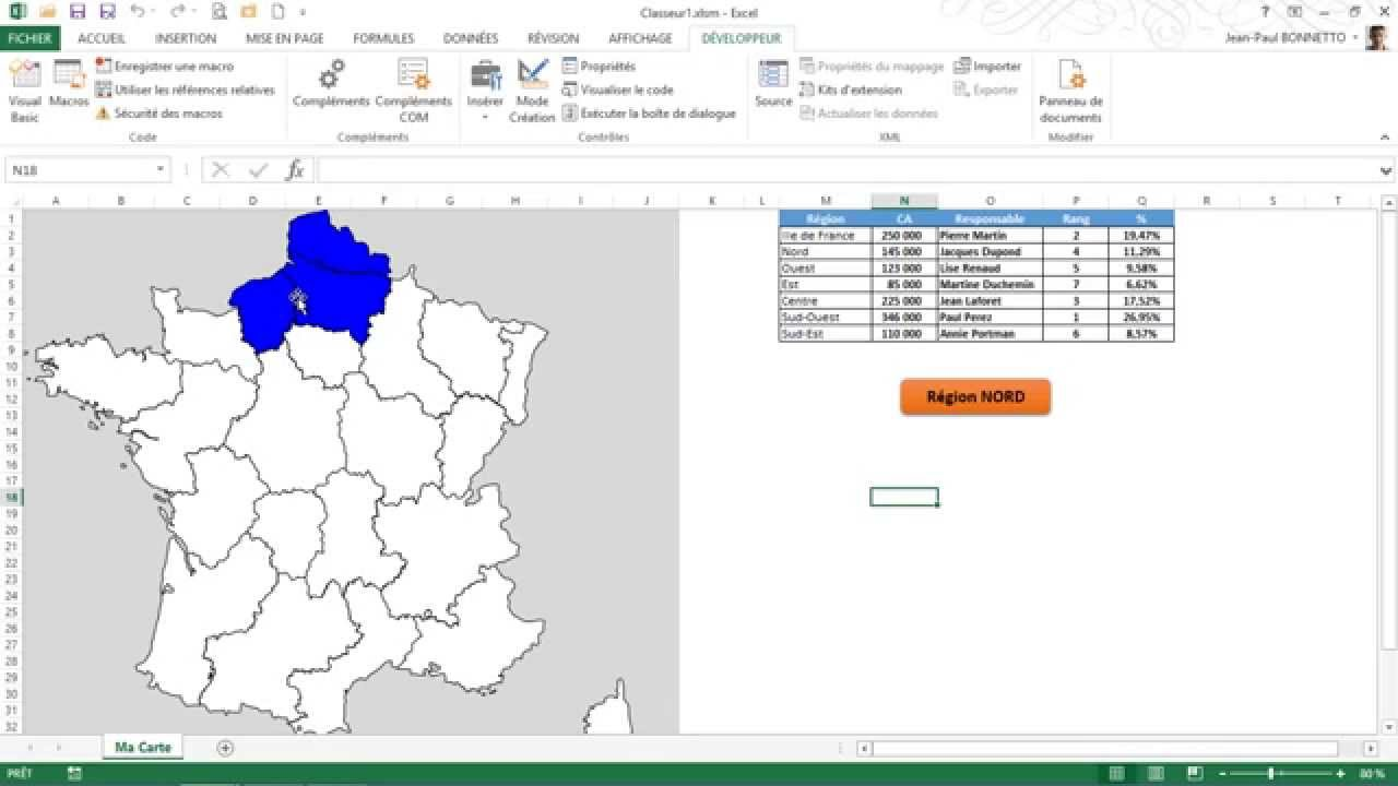 Excel cr er une carte de france interactive 2 2 youtube - Creer une carte geographique personnalisee ...