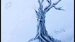 How to draw Dead tree رسم شجرة ميتة بقلم الرصاص