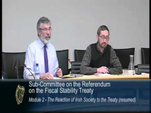 Gerry Adams and Paschal Donohoe clash over SF leaflets, 25.04.2012