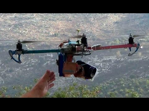 60x zoom quadcopter, 1st flight test footage