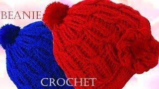 Repeat youtube video Como tejer un lindo gorro boina trenzado a Crochet o Ganchillo