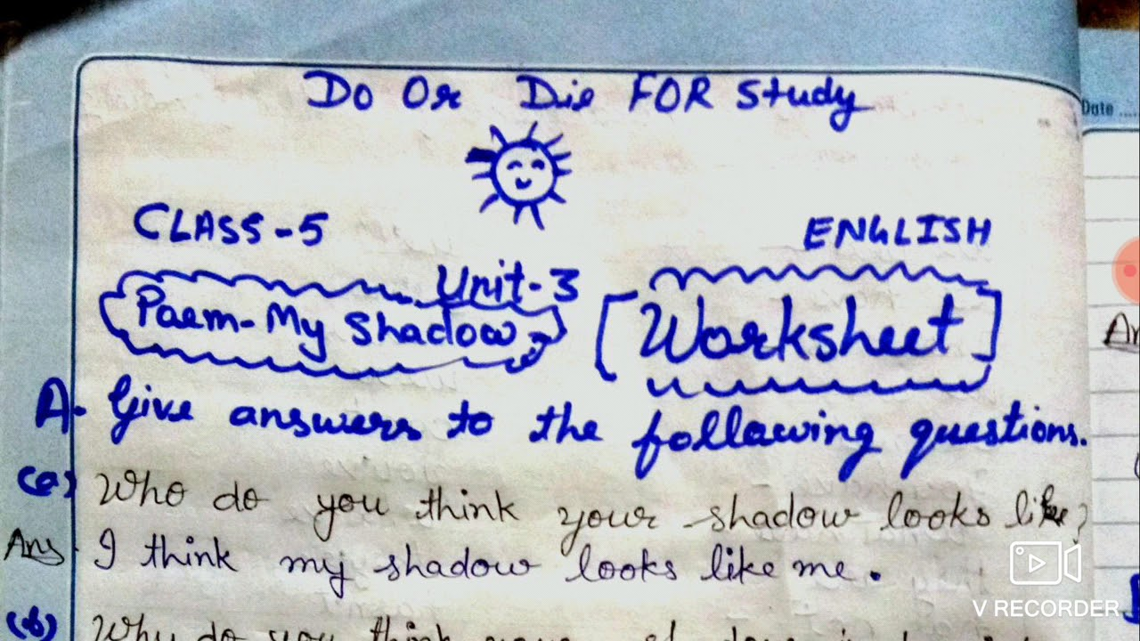 hight resolution of My Shadow Poem Question Answer /Worksheet Class 5 English - YouTube