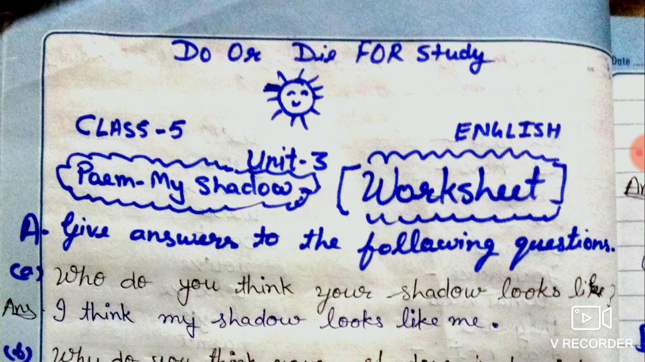 medium resolution of My Shadow Poem Question Answer /Worksheet Class 5 English - YouTube