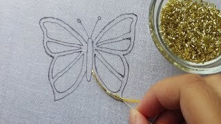 hand embroidery: amazing beaded butterfly idea| beads work|Beading Butterfly embroidery
