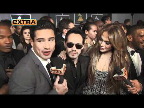 Jennifer Lopez & Marc Anthony 'Extra' interview on the Red Carpet at the 2011 Grammys