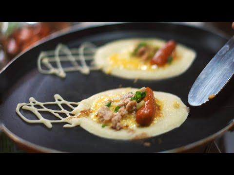 ขนมโตเกียว ใส้กรอกหมูสับ ทำง่าย อร่อยด้วย(ENGSUB)(RECIPE)roll pancake with sausage