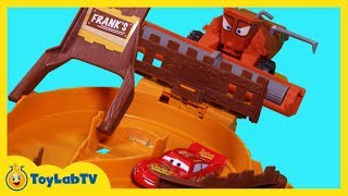 Disney Cars Toys Escape from Frank Track Set Lightning McQueen Mater Tractor Tipping Launcher Pixar