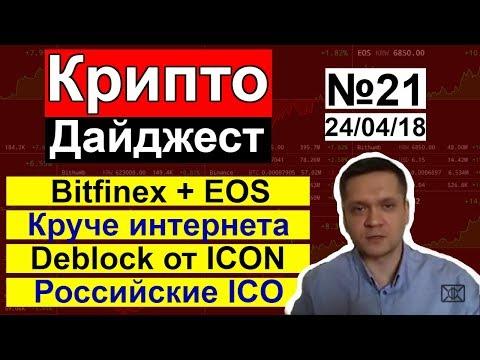 КриптоДайджест №21: Биткоин больше чем весь интернет | Bitfinex кандидат EOS Block Producer