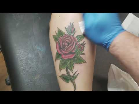 Rose Tattoo on Female Right Calf 2018