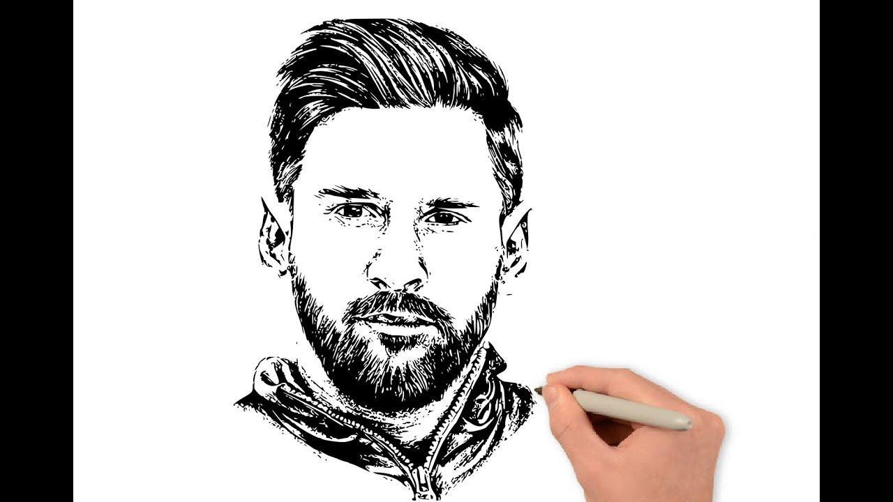 Menggambar Sketsa Wajah Messi Youtube
