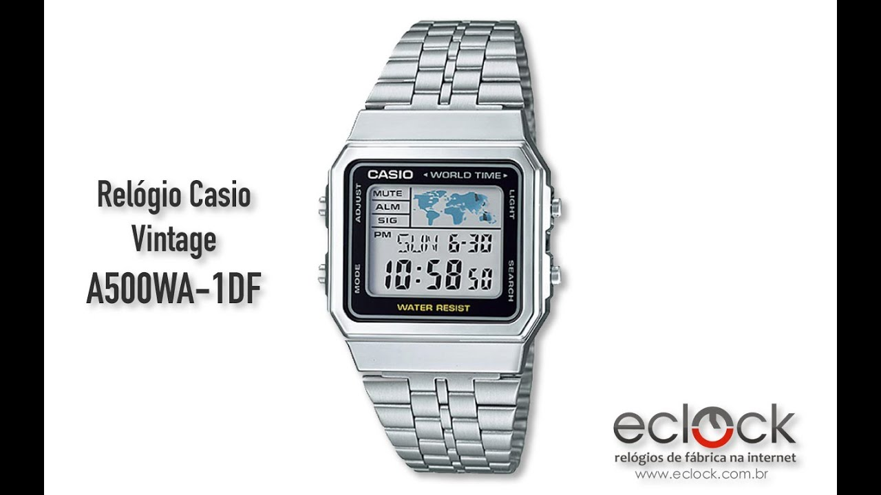482bfb97ee5 Relógio Casio Vintage A500WA-1DF - Eclock - YouTube
