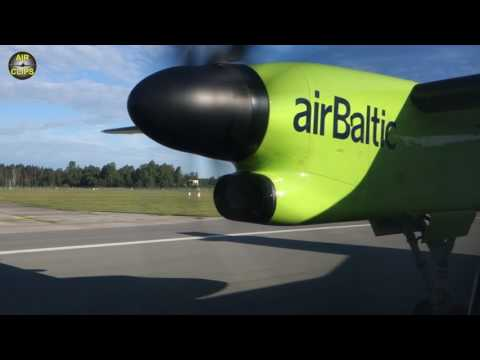 PURE POWER! Q400 Pratt & Whitney Canada PW100 Rocketing out of Riga!!! [AirClips]