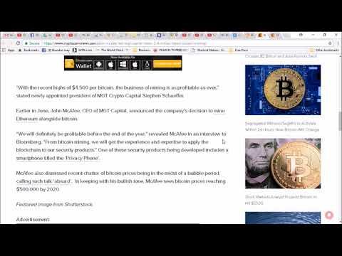 John McAfee Led MGT Capital Raises $2 4 Million To Boost Bitcoin Mining Operation