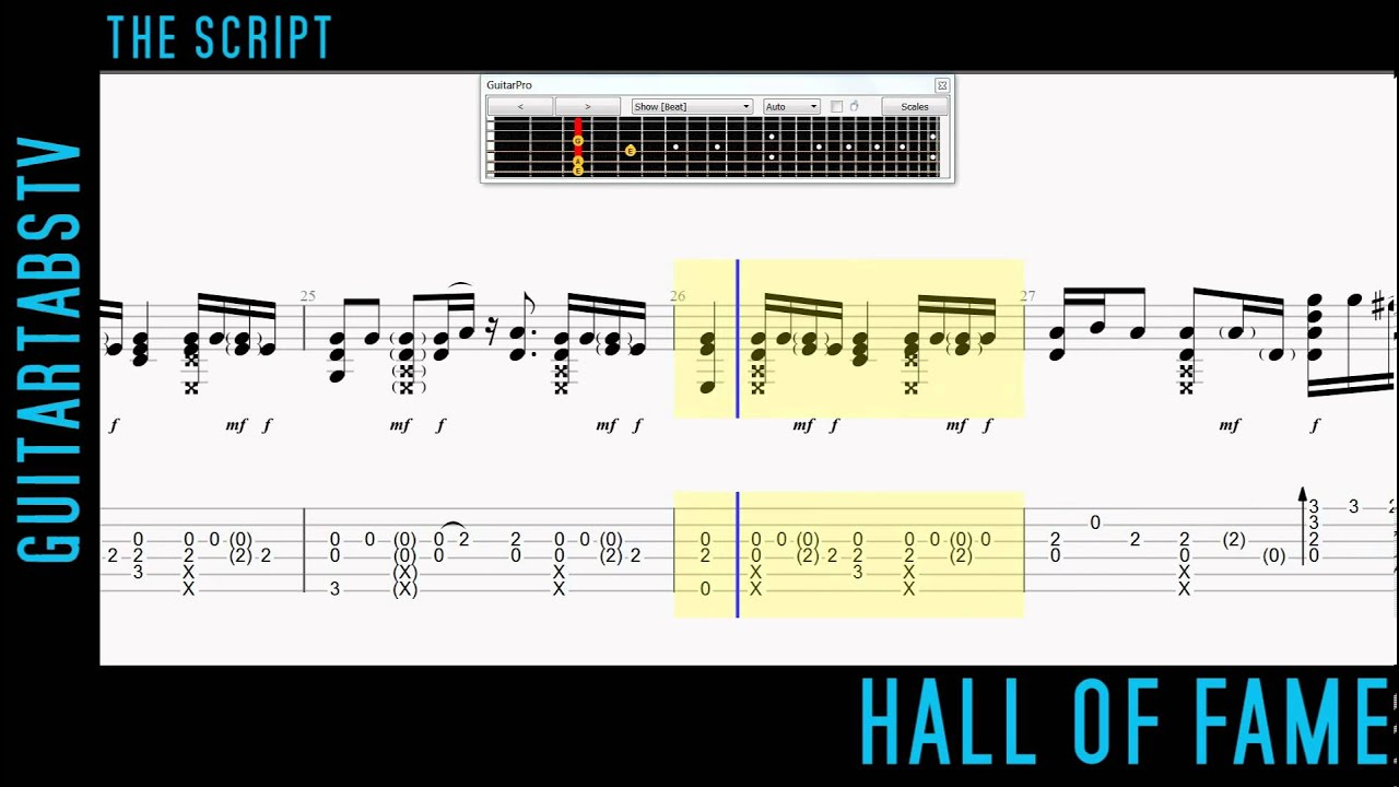 Hall Of Fame By The Script Fingerstyle Guitar Pro Tabs Pdf Youtube
