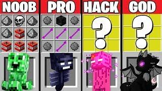 Minecraft Battle: BABY MONSTER CRAFTING ~ NOOB vs PRO vs HACKER vs GOD – Challenge Animation