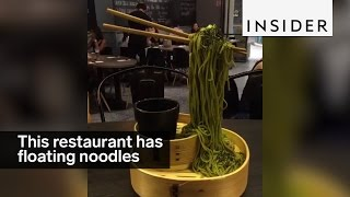 This restaurant defies gravity with its flying noodles