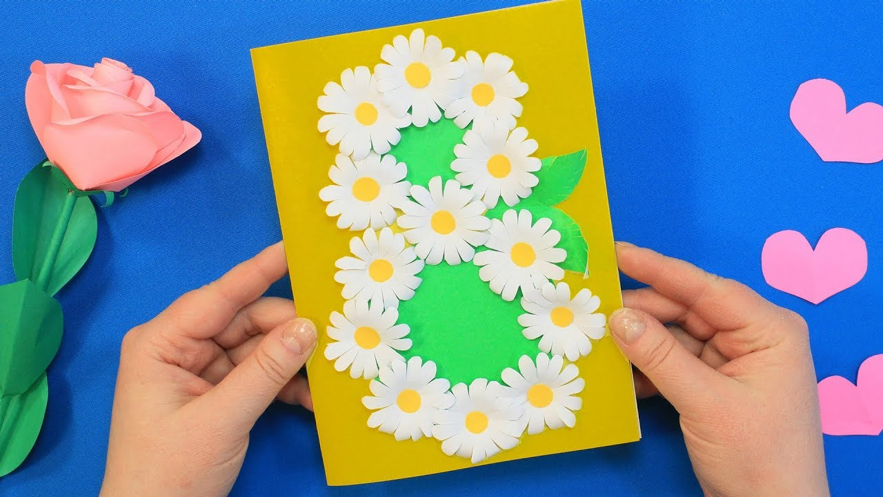 Как маме сделать открытку на 8 марта своими руками