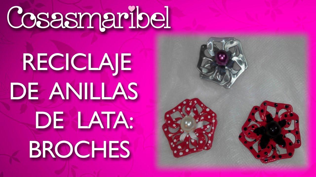 Reciclaje de anillas de lata broches para la solapa youtube - Broches para manualidades ...
