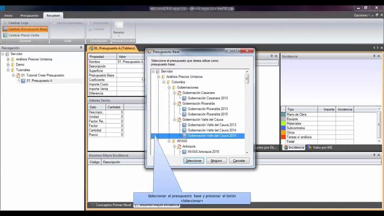 Quercusoft software pasos para crear presupuesto de obras for Programa para hacer presupuestos