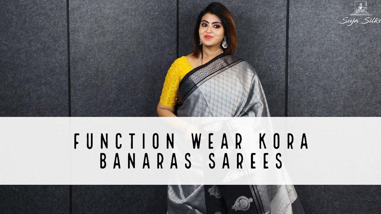 Function Wear Kora Banaras Sarees | Suja Silks |