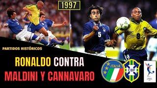 RONALDO y ROMÁRIO vs MALDINI y CANNAVARO Brasil 3 Italia 3 1997 Torneo de Francia