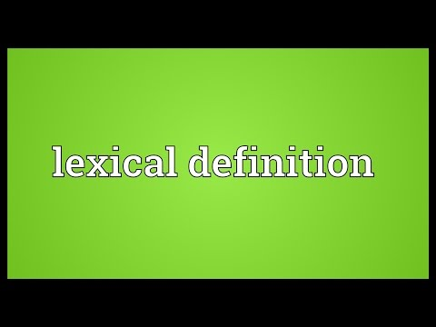 Lexical definition Meaning